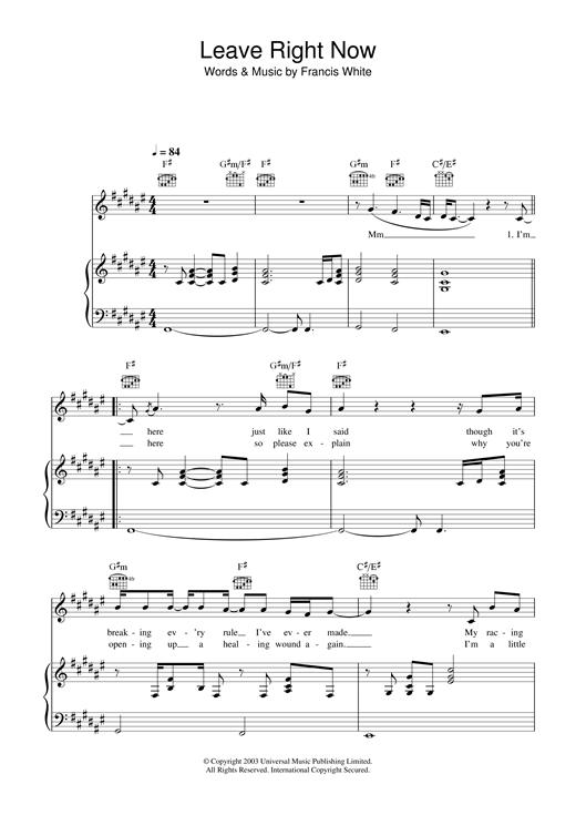 Download Will Young 'Leave Right Now' Digital Sheet Music Notes & Chords and start playing in minutes