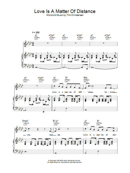 Will Young Love Is A Matter Of Distance sheet music preview music notes and score for Piano, Vocal & Guitar including 4 page(s)