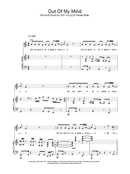 Will Young Out Of My Mind sheet music preview music notes and score for Piano, Vocal & Guitar including 8 page(s)