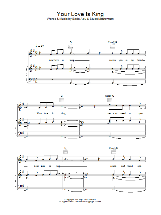 Will Young Your Love Is King sheet music preview music notes and score for Piano, Vocal & Guitar (Right-Hand Melody) including 7 page(s)
