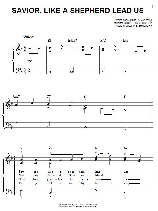 Download William B. Bradbury 'Savior, Like A Shepherd Lead Us' Digital Sheet Music Notes & Chords and start playing in minutes