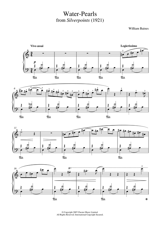 William Baines Water-Pearls (From 'Silverpoints') sheet music preview music notes and score for Piano including 3 page(s)