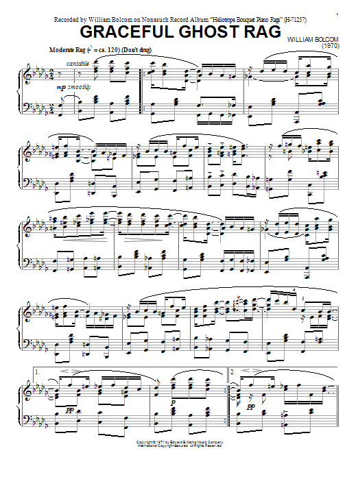 Download William Bolcom 'Graceful Ghost Rag' Digital Sheet Music Notes & Chords and start playing in minutes