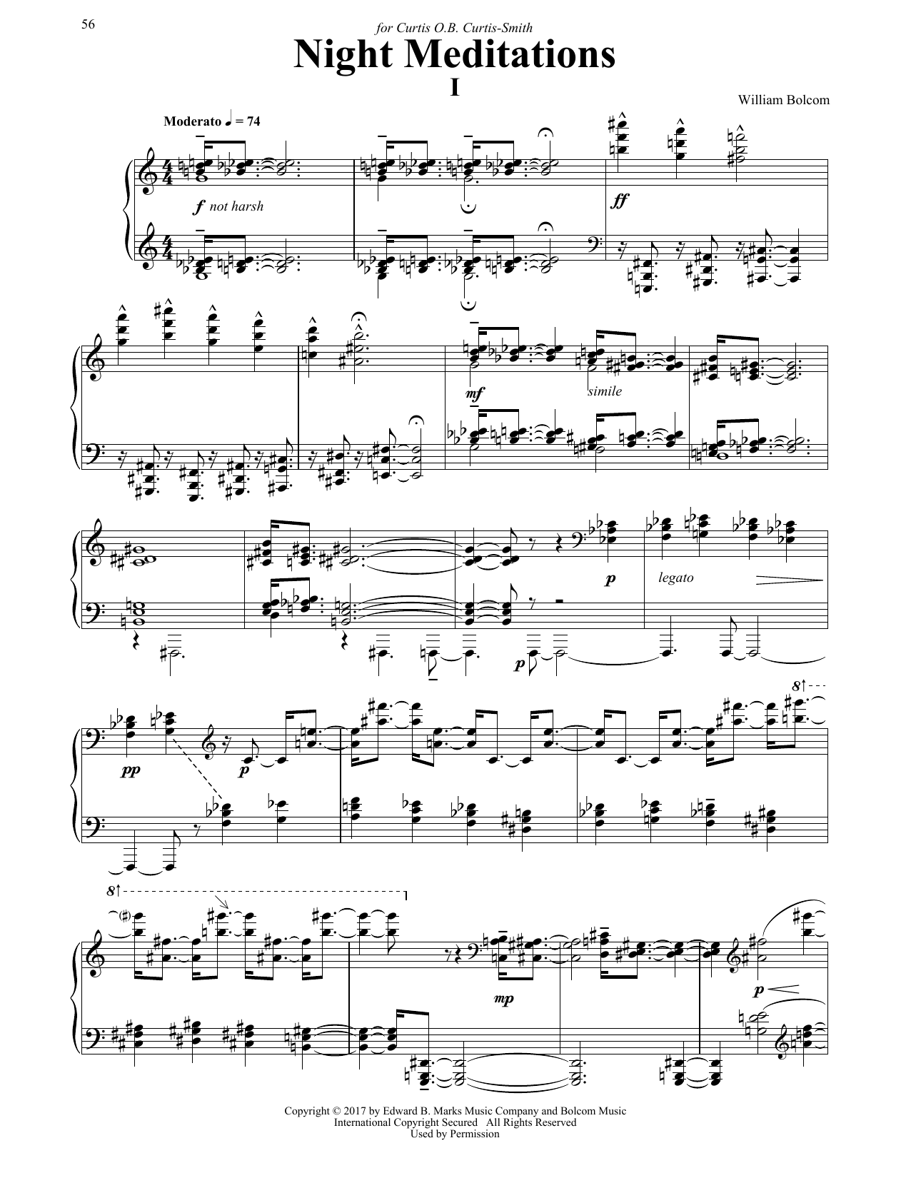 Download William Bolcom 'Night Meditations' Digital Sheet Music Notes & Chords and start playing in minutes