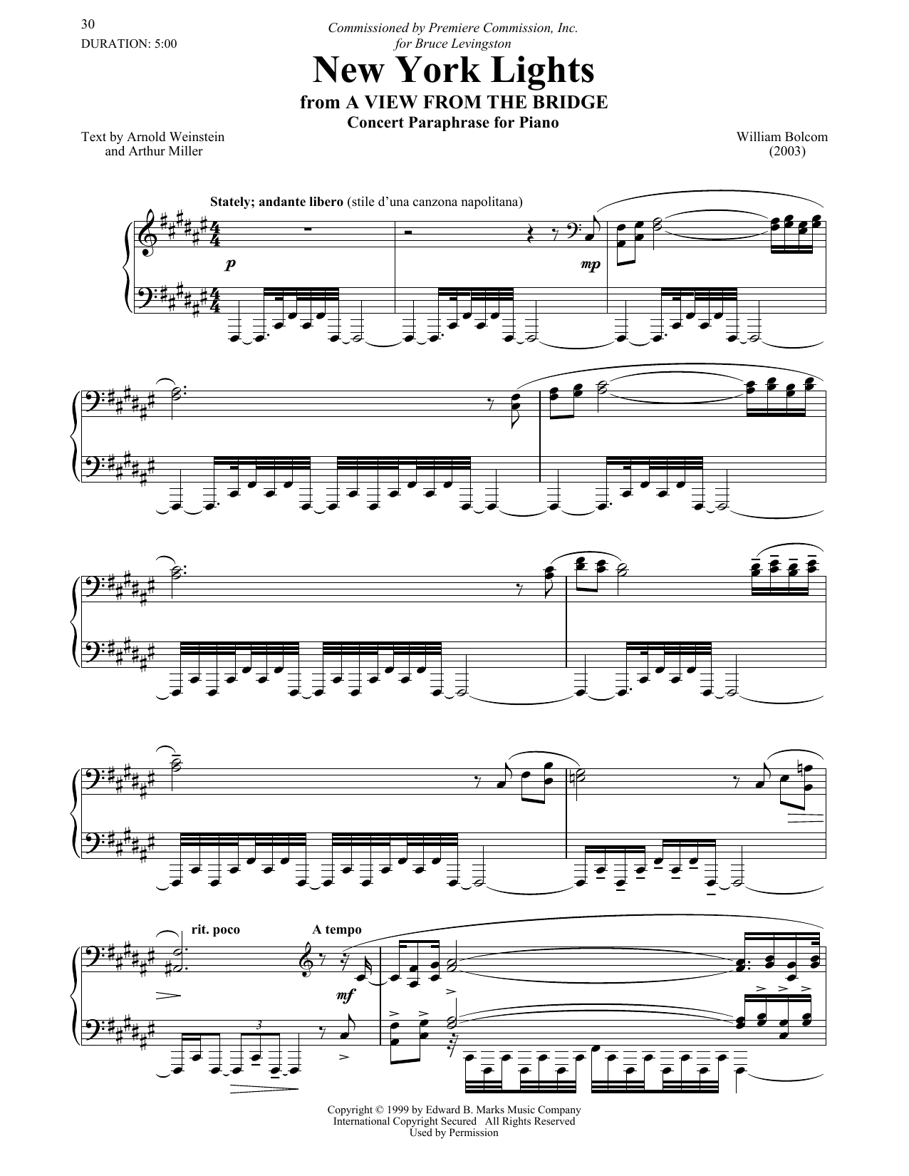 Download William Bolcom 'The New York Lights' Digital Sheet Music Notes & Chords and start playing in minutes
