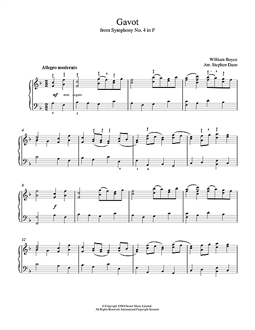 Download William Boyce 'Gavot' Digital Sheet Music Notes & Chords and start playing in minutes