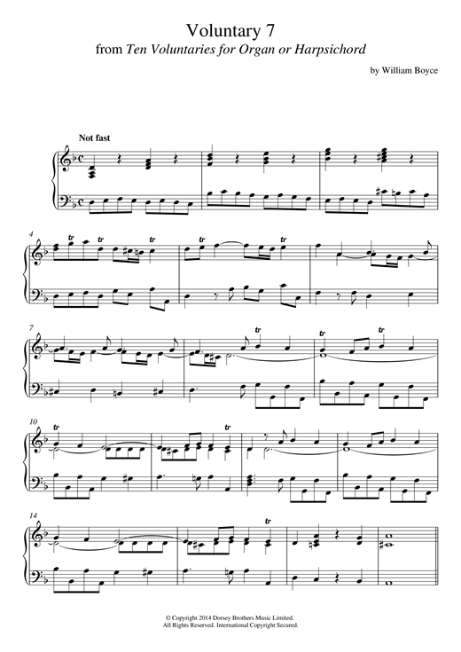 Download William Boyce 'Voluntary 7 In D Minor From 10 Voluntaries For Harpsichord' Digital Sheet Music Notes & Chords and start playing in minutes