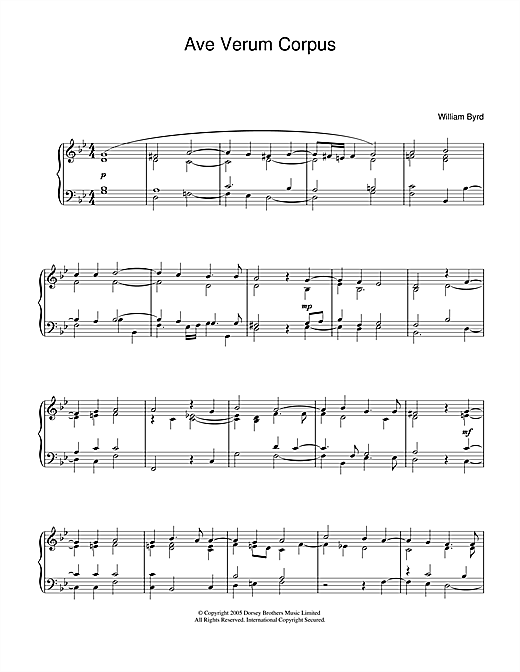 Download William Byrd 'Ave Verum Corpus' Digital Sheet Music Notes & Chords and start playing in minutes