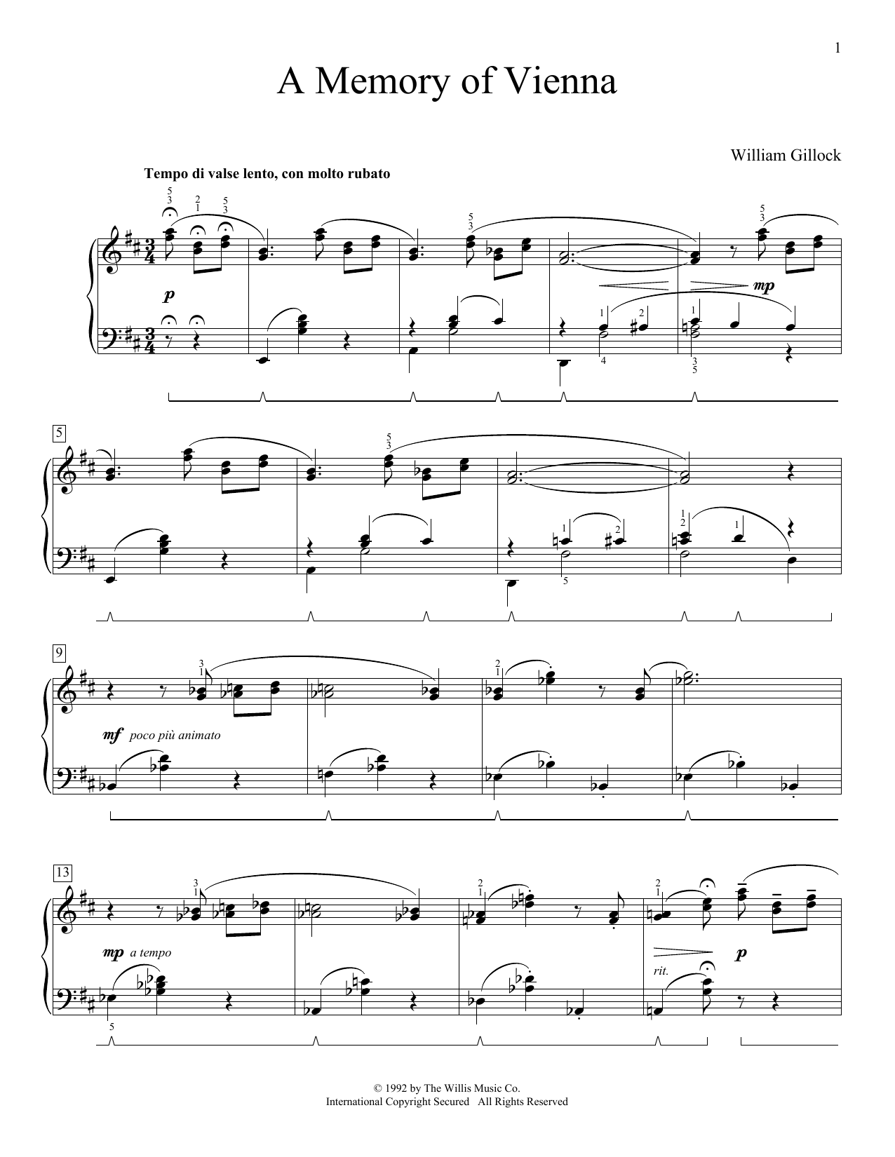 William Gillock A Memory Of Vienna sheet music preview music notes and score for Easy Piano including 4 page(s)