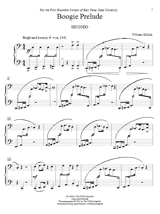 Download William Gillock 'Boogie Prelude' Digital Sheet Music Notes & Chords and start playing in minutes