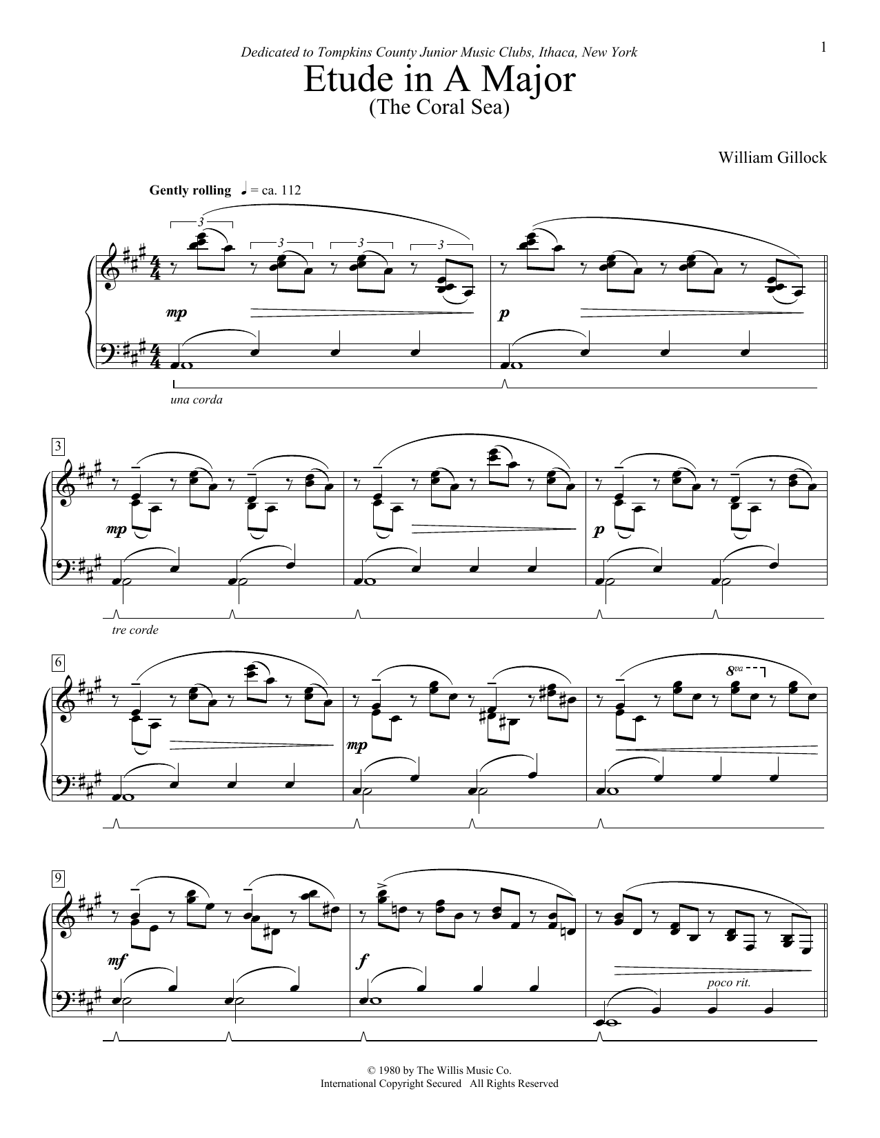 William Gillock Etude In A Major (The Coral Sea) sheet music preview music notes and score for Easy Piano including 5 page(s)