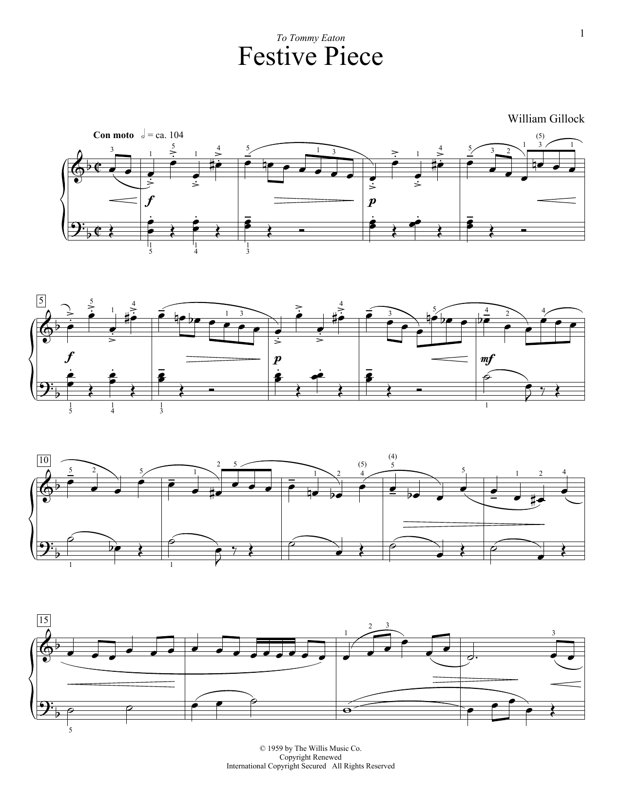 William Gillock Festive Piece sheet music preview music notes and score for Easy Piano including 2 page(s)