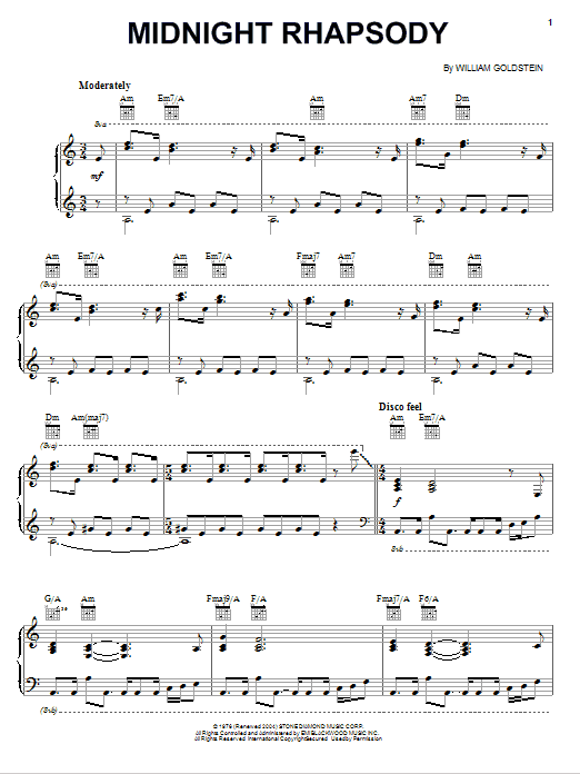 Download William Goldstein 'Midnight Rhapsody' Digital Sheet Music Notes & Chords and start playing in minutes