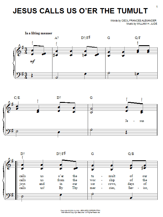 Cecil Frances Alexander Jesus Calls Us O'er The Tumult sheet music notes and chords