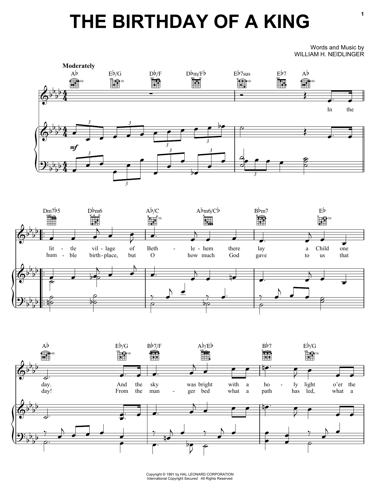 William H. Neidlinger The Birthday of a King (Neidlinger) sheet music preview music notes and score for Piano, Vocal & Guitar (Right-Hand Melody) including 2 page(s)