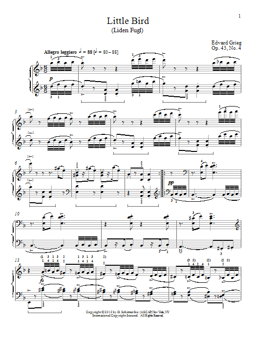 Download William Westney 'Little Bird (Liden Fugl), Op. 43, No. 4' Digital Sheet Music Notes & Chords and start playing in minutes