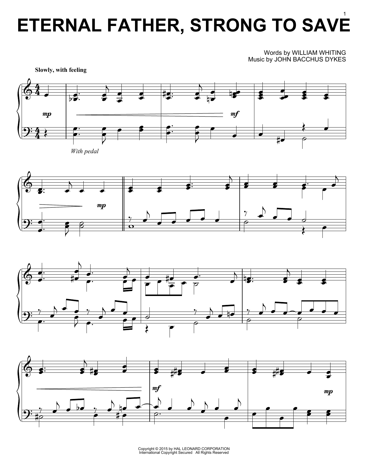 Download John B. Dykes 'Eternal Father, Strong To Save' Digital Sheet Music Notes & Chords and start playing in minutes
