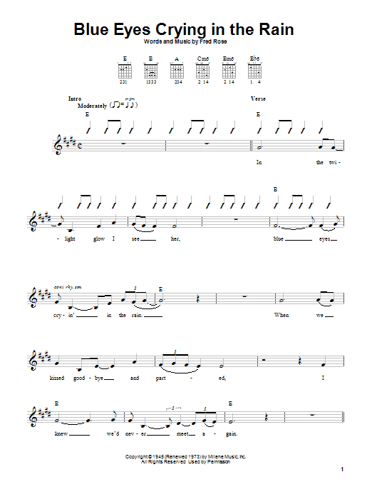 Download Willie Nelson 'Blue Eyes Crying In The Rain' Digital Sheet Music Notes & Chords and start playing in minutes