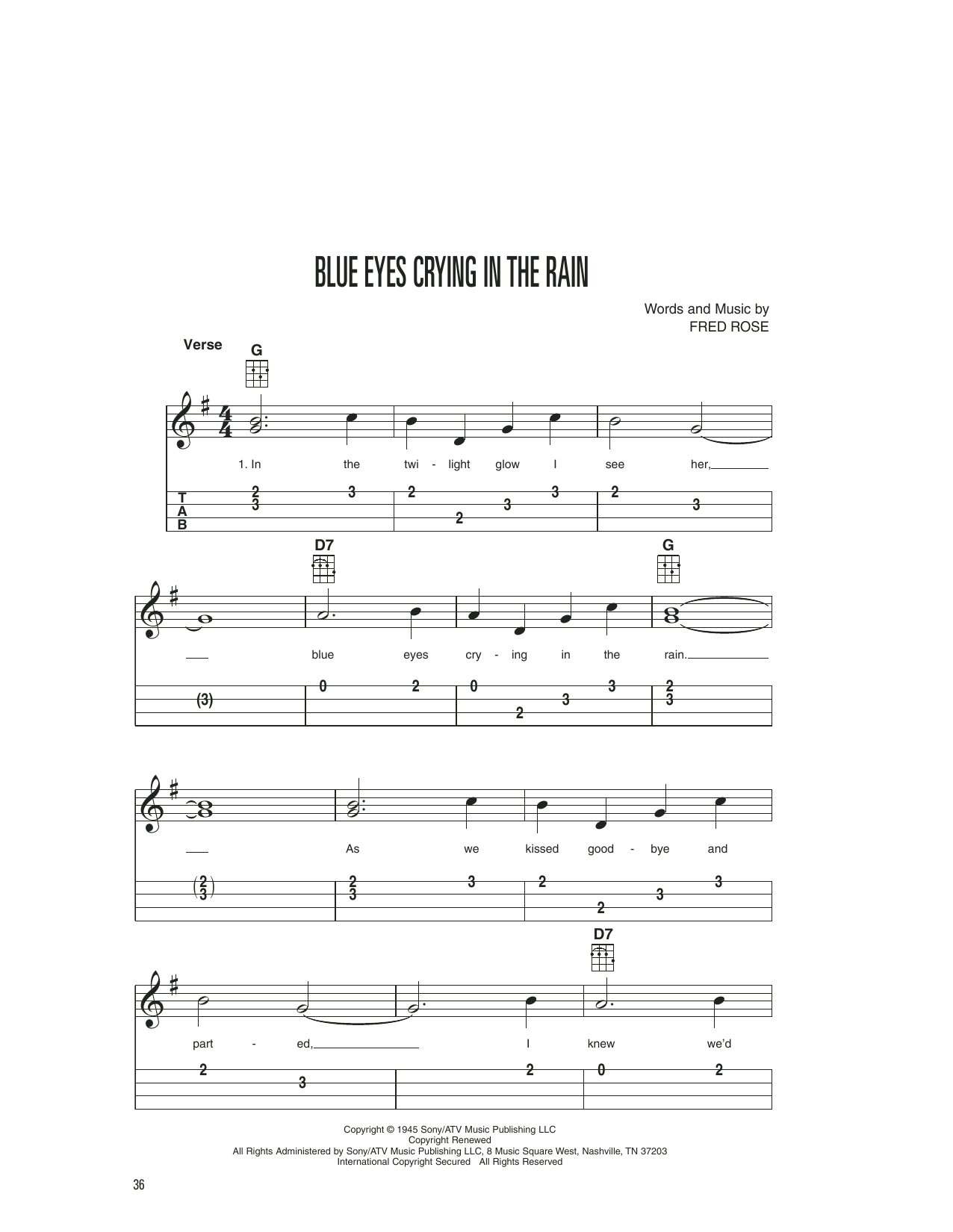 Willie Nelson Blue Eyes Crying In The Rain sheet music preview music notes and score for Guitar Tab including 2 page(s)