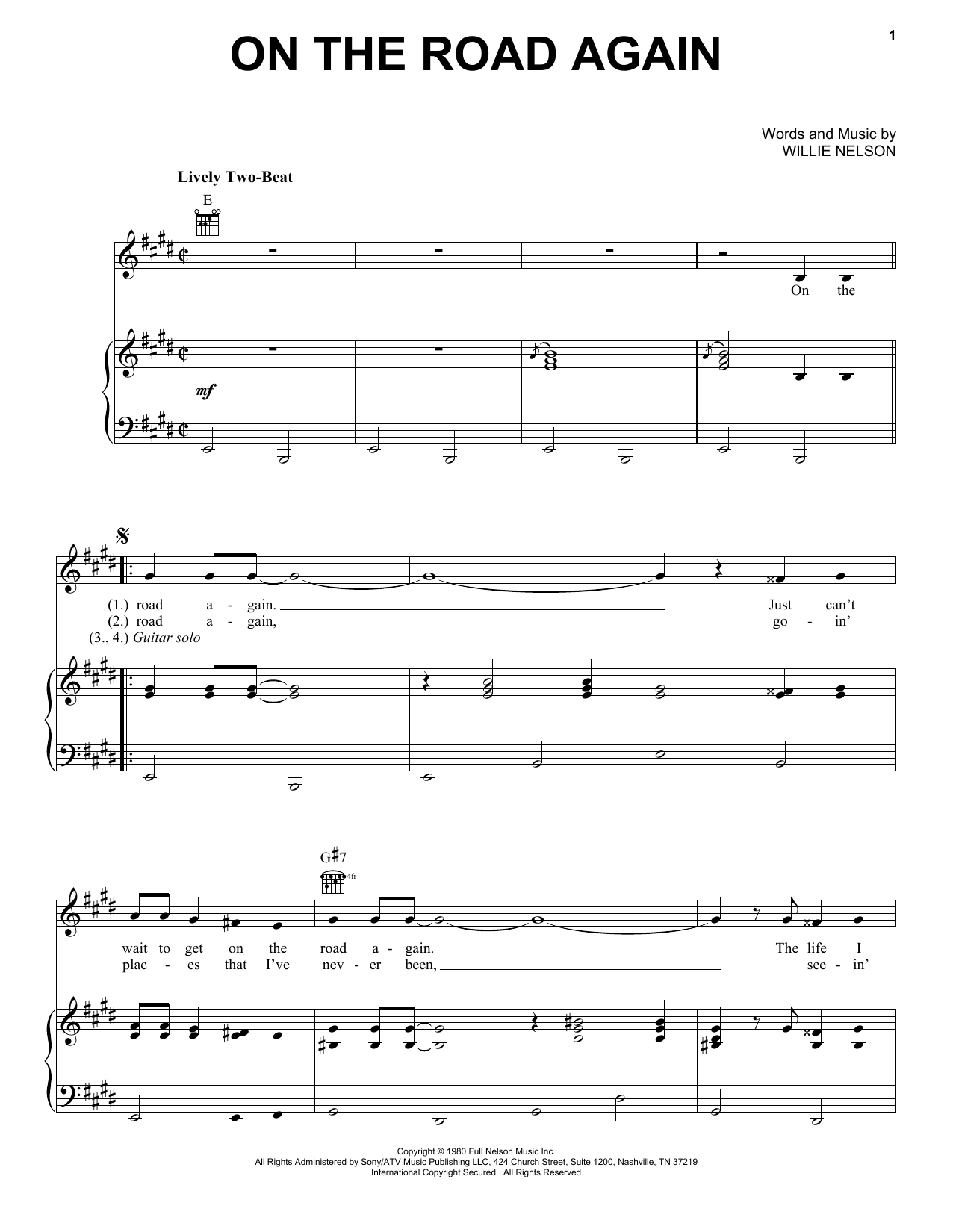 Willie Nelson On The Road Again sheet music preview music notes and score for Guitar Tab including 2 page(s)