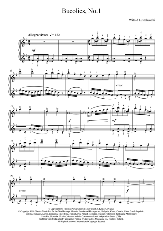 Download Witold Lutoslawski 'Bucolics, No.1' Digital Sheet Music Notes & Chords and start playing in minutes