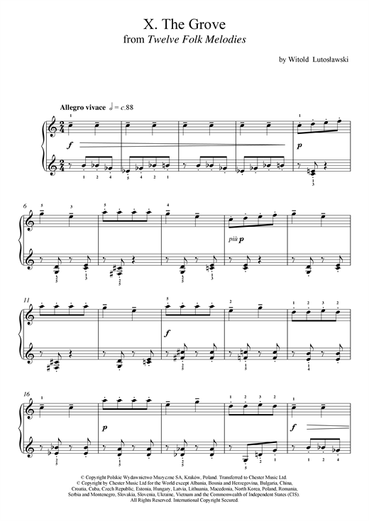Download Witold Lutoslawski 'The Grove' Digital Sheet Music Notes & Chords and start playing in minutes