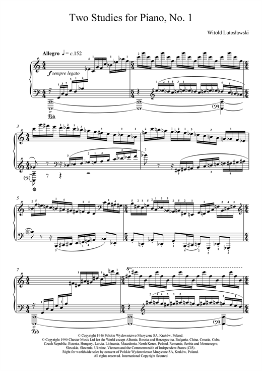 Download Witold Lutoslawski 'Two Studies For Piano, 1. Allegro' Digital Sheet Music Notes & Chords and start playing in minutes