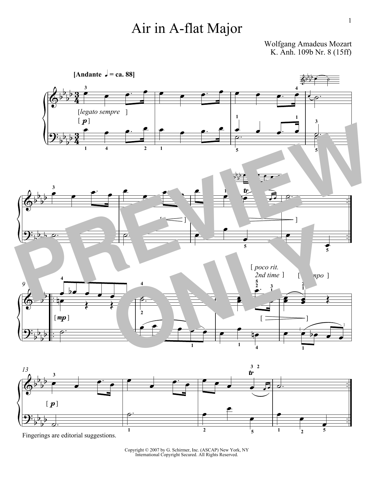 Download Wolfgang Amadeus Mozart 'Air In A-Flat Major, K109b, No. 8' Digital Sheet Music Notes & Chords and start playing in minutes
