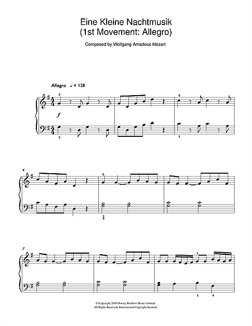 Wolfgang Amadeus Mozart Allegro from Eine Kleine Nachtmusik K525 sheet music preview music notes and score for Beginner Piano including 2 page(s)
