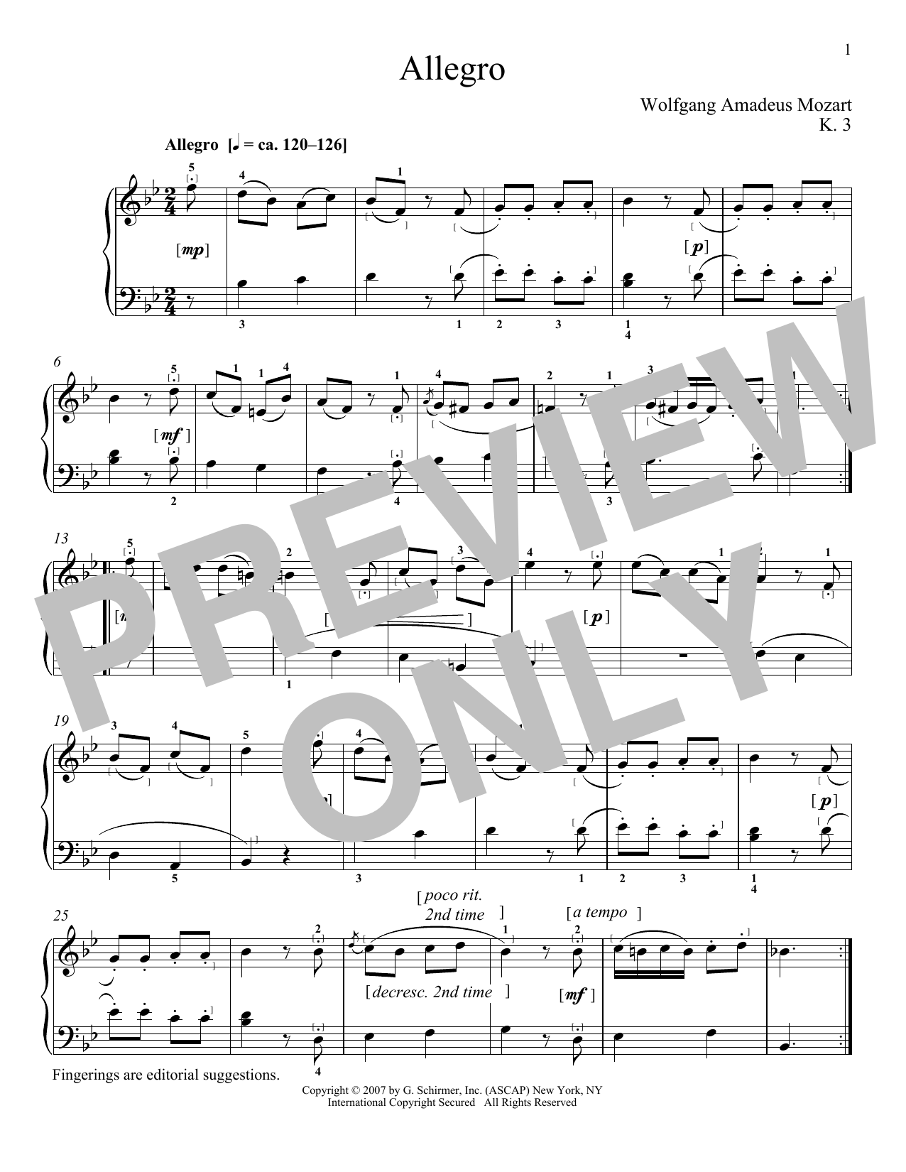 Download Wolfgang Amadeus Mozart 'Allegro In B Flat Major, K. 3' Digital Sheet Music Notes & Chords and start playing in minutes