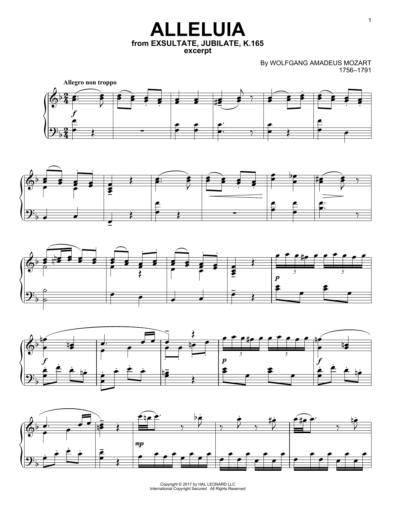 Download Wolfgang Amadeus Mozart 'Alleluia' Digital Sheet Music Notes & Chords and start playing in minutes