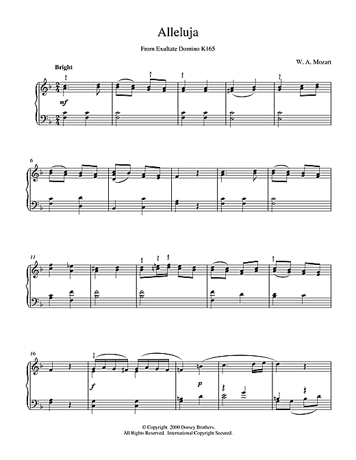 Wolfgang Amadeus Mozart Alleluja From Exultate Domino sheet music notes and chords