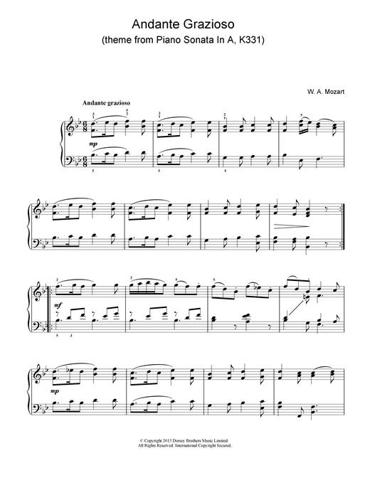 Wolfgang Amadeus Mozart Andante Grazioso (theme from Piano Sonata In A, K331) sheet music notes and chords