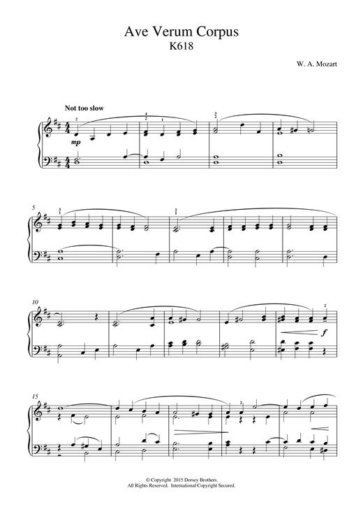 Wolfgang Amadeus Mozart Ave Verum Corpus, K618 sheet music notes and chords