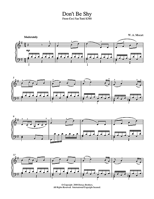 Download Wolfgang Amadeus Mozart 'Don't Be Shy (from Cosi Fan Tutti, K588)' Digital Sheet Music Notes & Chords and start playing in minutes