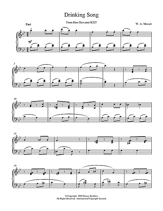 Download Wolfgang Amadeus Mozart 'Drinking Song From Don Giovanni K527' Digital Sheet Music Notes & Chords and start playing in minutes