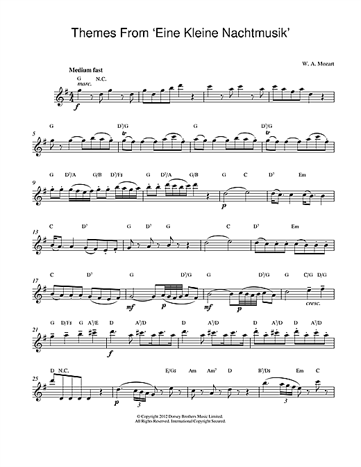 Download Wolfgang Amadeus Mozart 'Eine Kleine Nachtmusik' Digital Sheet Music Notes & Chords and start playing in minutes