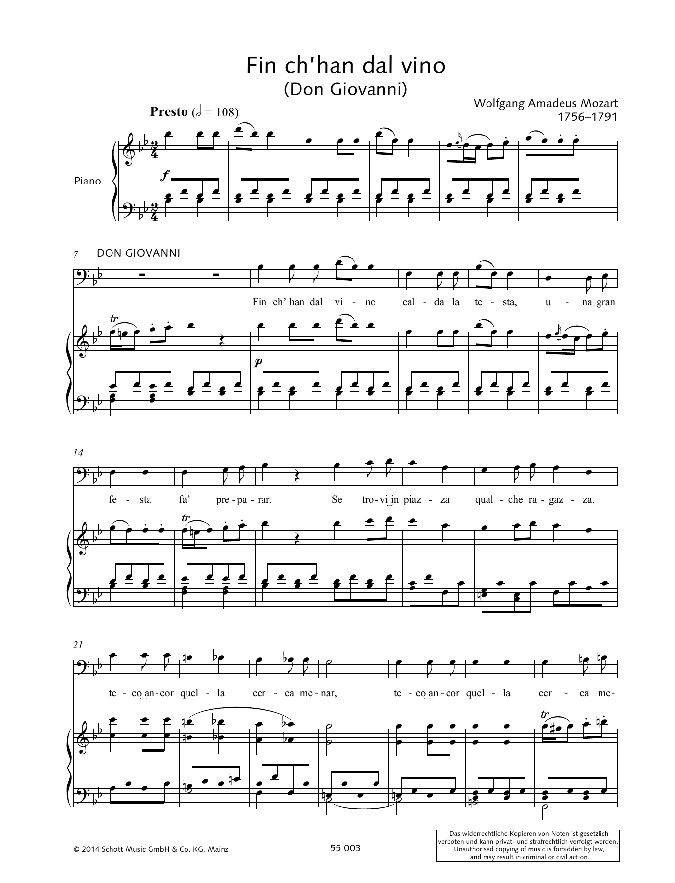Wolfgang Amadeus Mozart Fin ch'han dal vino sheet music preview music notes and score for Piano & Vocal including 5 page(s)