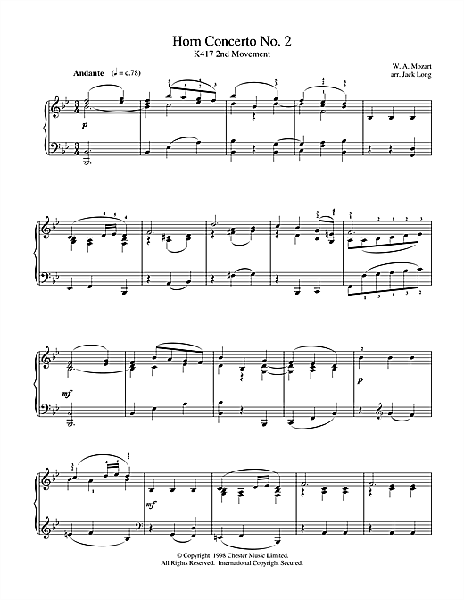 Download Wolfgang Amadeus Mozart 'Horn Concerto No. 2' Digital Sheet Music Notes & Chords and start playing in minutes