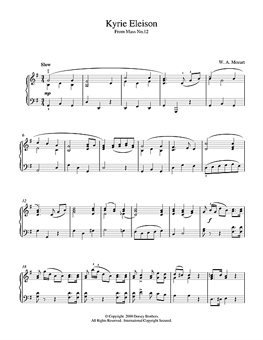 Wolfgang Amadeus Mozart Kyrie Eleison From Mass No.12 sheet music notes and chords