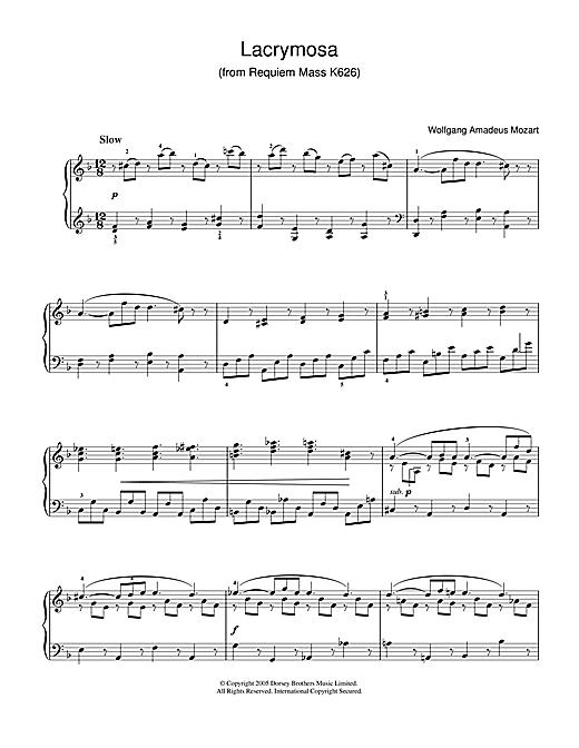 Download Wolfgang Amadeus Mozart 'Lacrymosa from Requiem Mass, K626' Digital Sheet Music Notes & Chords and start playing in minutes