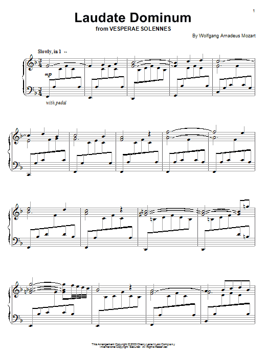 Download Wolfgang Amadeus Mozart 'Laudate Dominum (from Vesperae Solennes)' Digital Sheet Music Notes & Chords and start playing in minutes