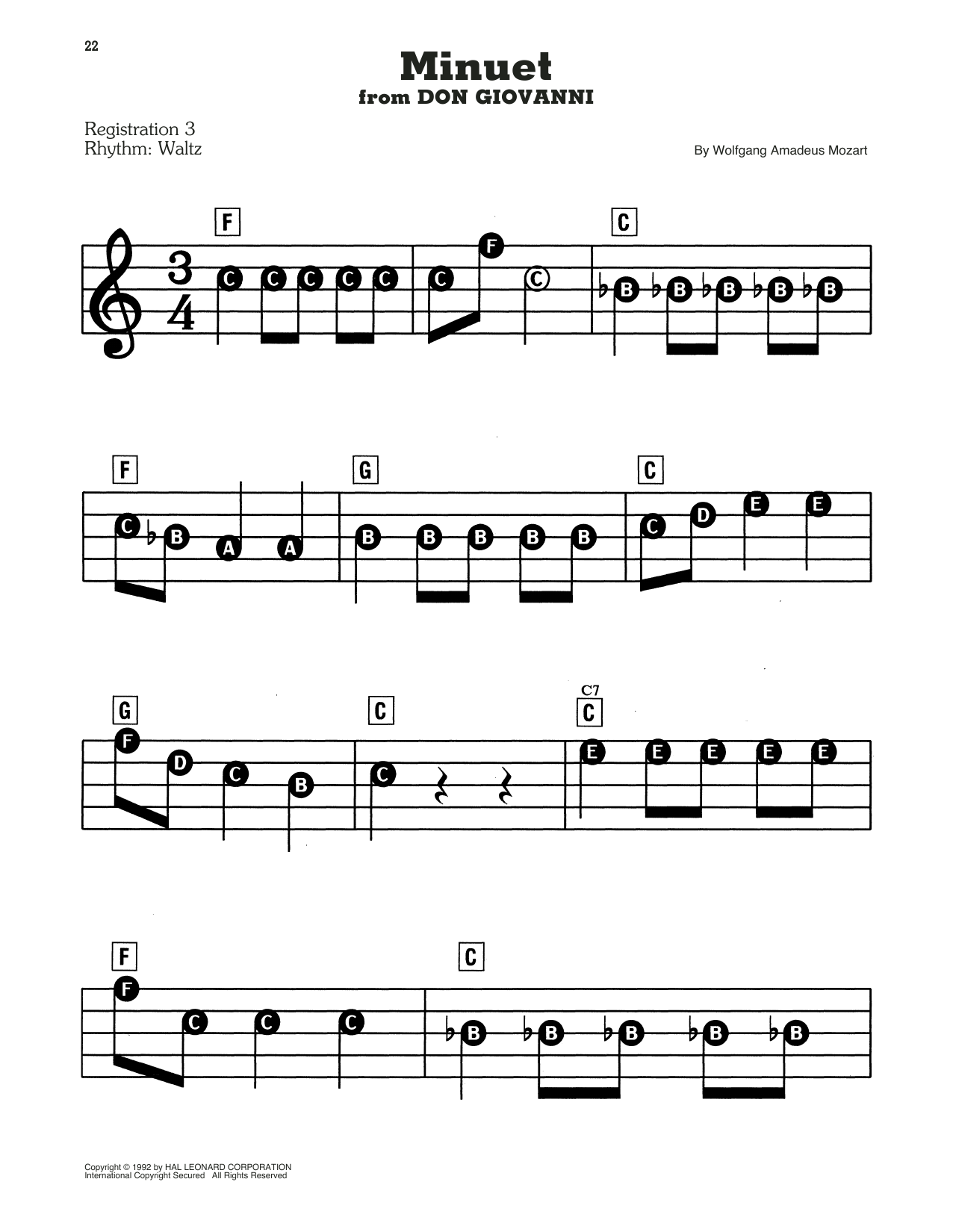 Wolfgang Amadeus Mozart Minuet sheet music preview music notes and score for E-Z Play Today including 2 page(s)