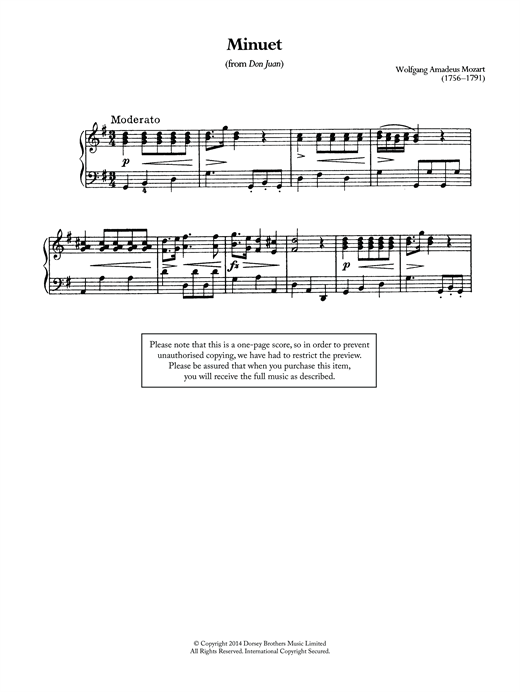 Download Wolfgang Amadeus Mozart 'Minuet (From 'Don Juan')' Digital Sheet Music Notes & Chords and start playing in minutes