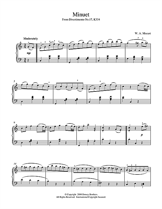 Wolfgang Amadeus Mozart Minuet from Divertimento No.17, K334 sheet music notes and chords