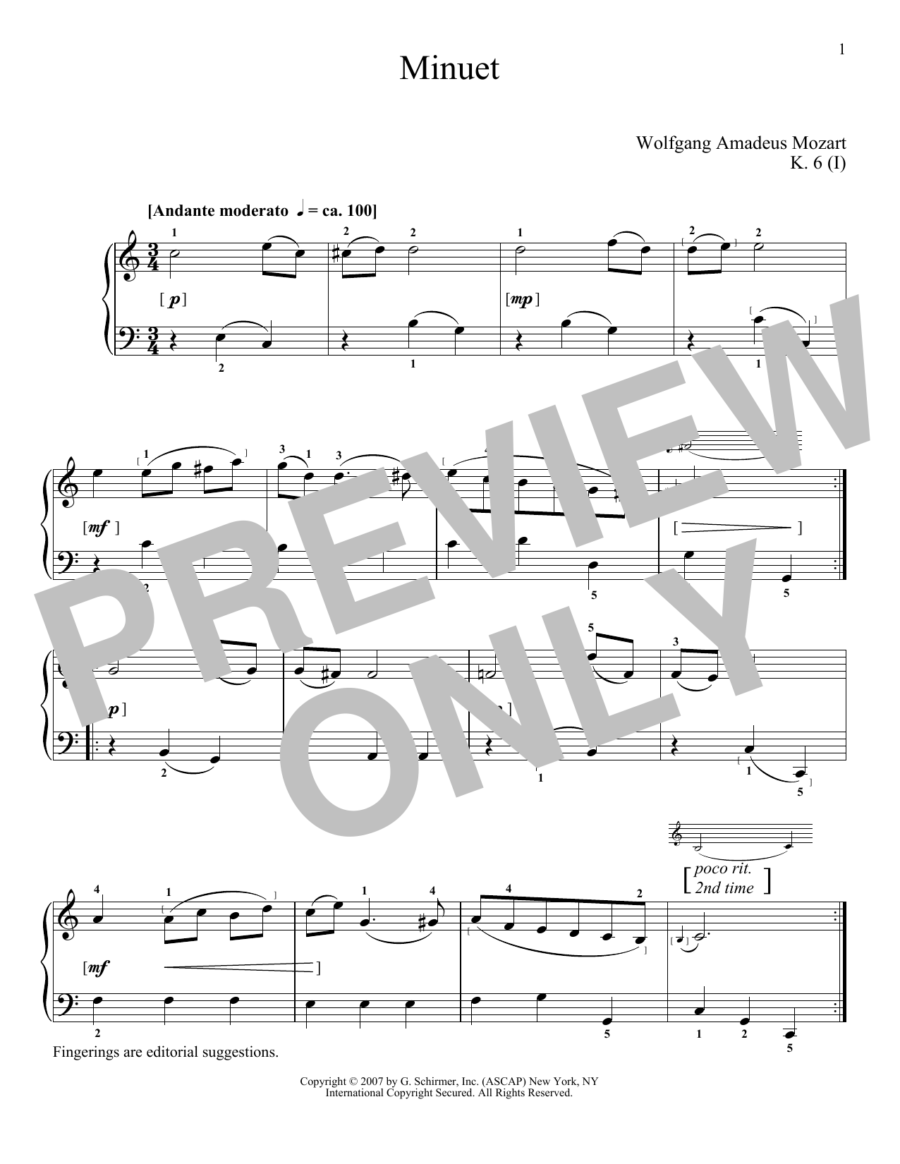 Download Wolfgang Amadeus Mozart 'Minuet In C Major, K. 6' Digital Sheet Music Notes & Chords and start playing in minutes