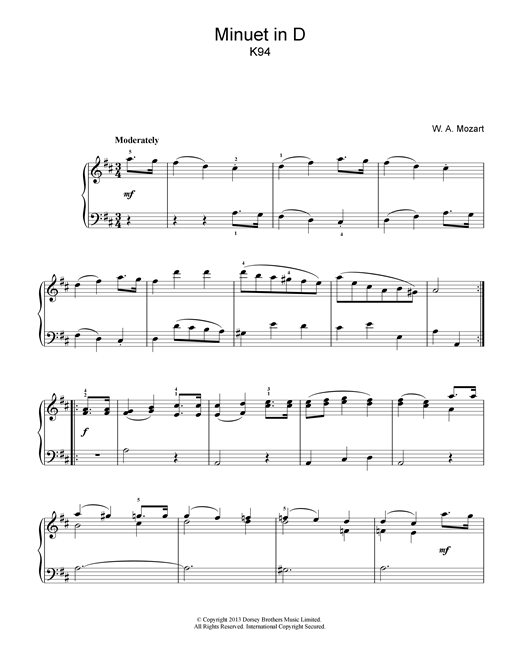 Wolfgang Amadeus Mozart Minuet in D K94 sheet music notes and chords
