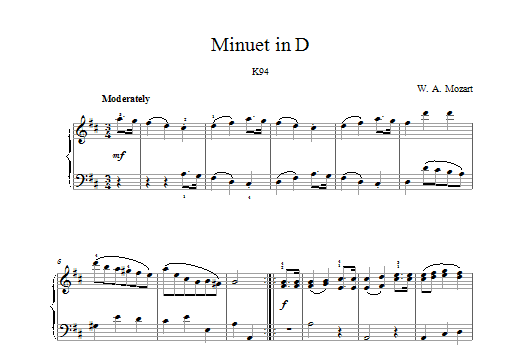 Wolfgang Amadeus Mozart Minuet in D K94 sheet music preview music notes and score for Piano including 2 page(s)