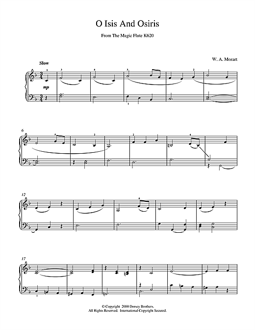 Download Wolfgang Amadeus Mozart 'O Isis And Osiris From The Magic Flute K620' Digital Sheet Music Notes & Chords and start playing in minutes