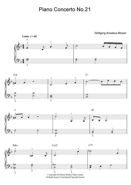 Download Wolfgang Amadeus Mozart 'Piano Concerto No. 21 In C Major (Second Movement)' Digital Sheet Music Notes & Chords and start playing in minutes